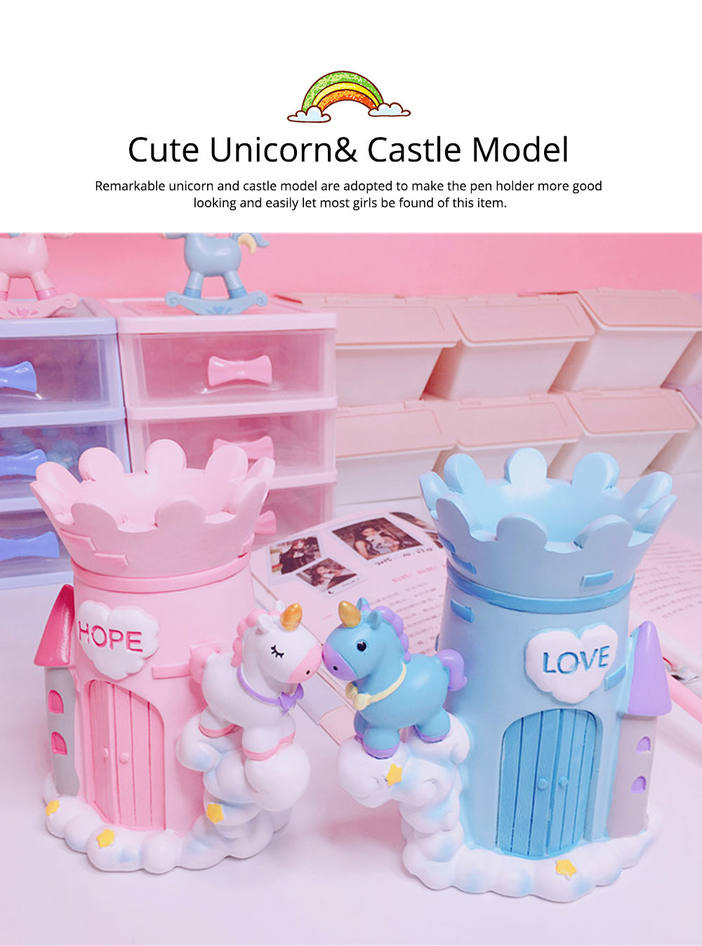Unicorn Pen Pencil Holder, Dream Castle Pony Pen Holder Back to School Gift for Girls 2