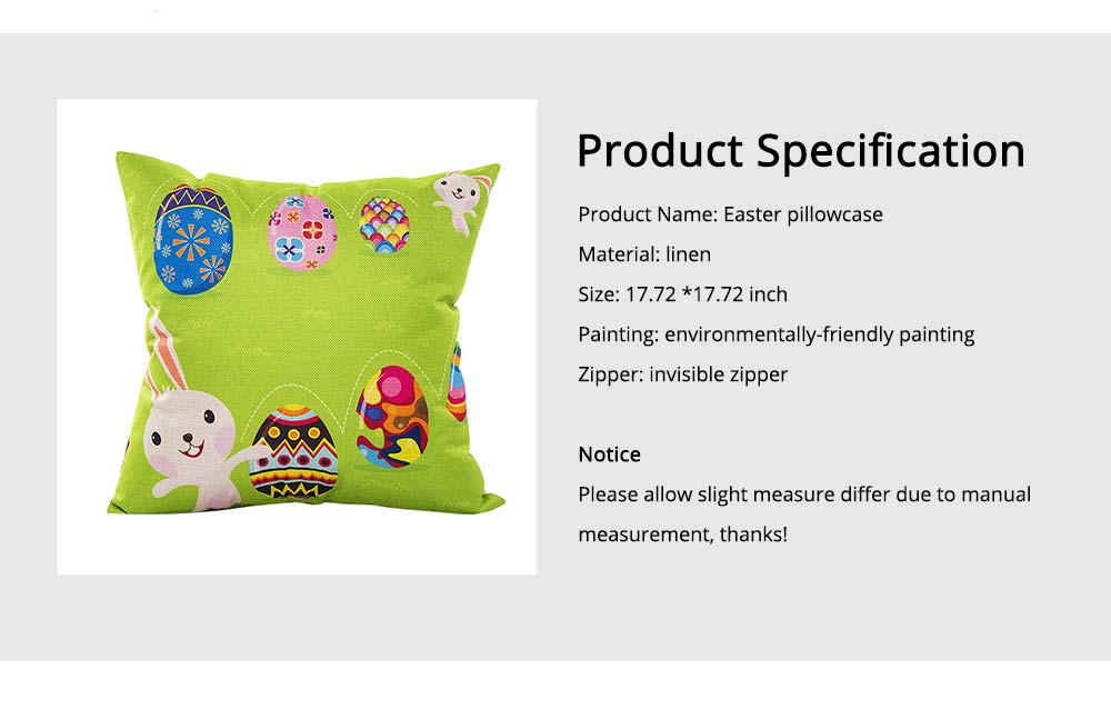 Cute Carton Easter Eggs Rabbit Pattern Linen Pillowcase, Colorful Painting Smooth Pillow Slip for Easter Day 5