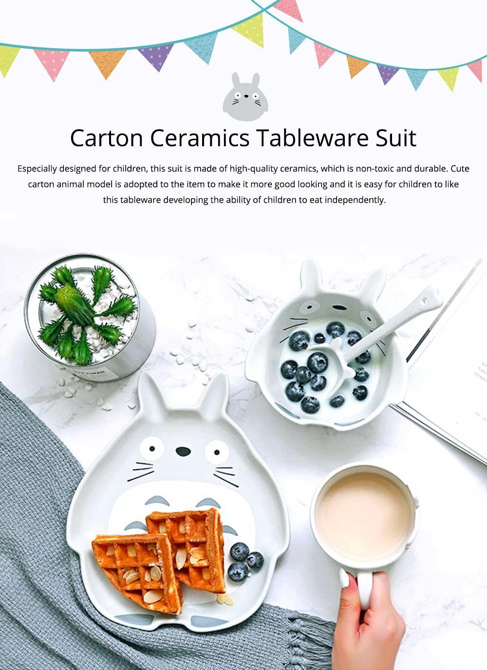 Cute Creative Carton Animal Model Ceramics 4PCS Tableware Suit, Functional Fancy Bowl Cup Spoon Dish Set for Children 0