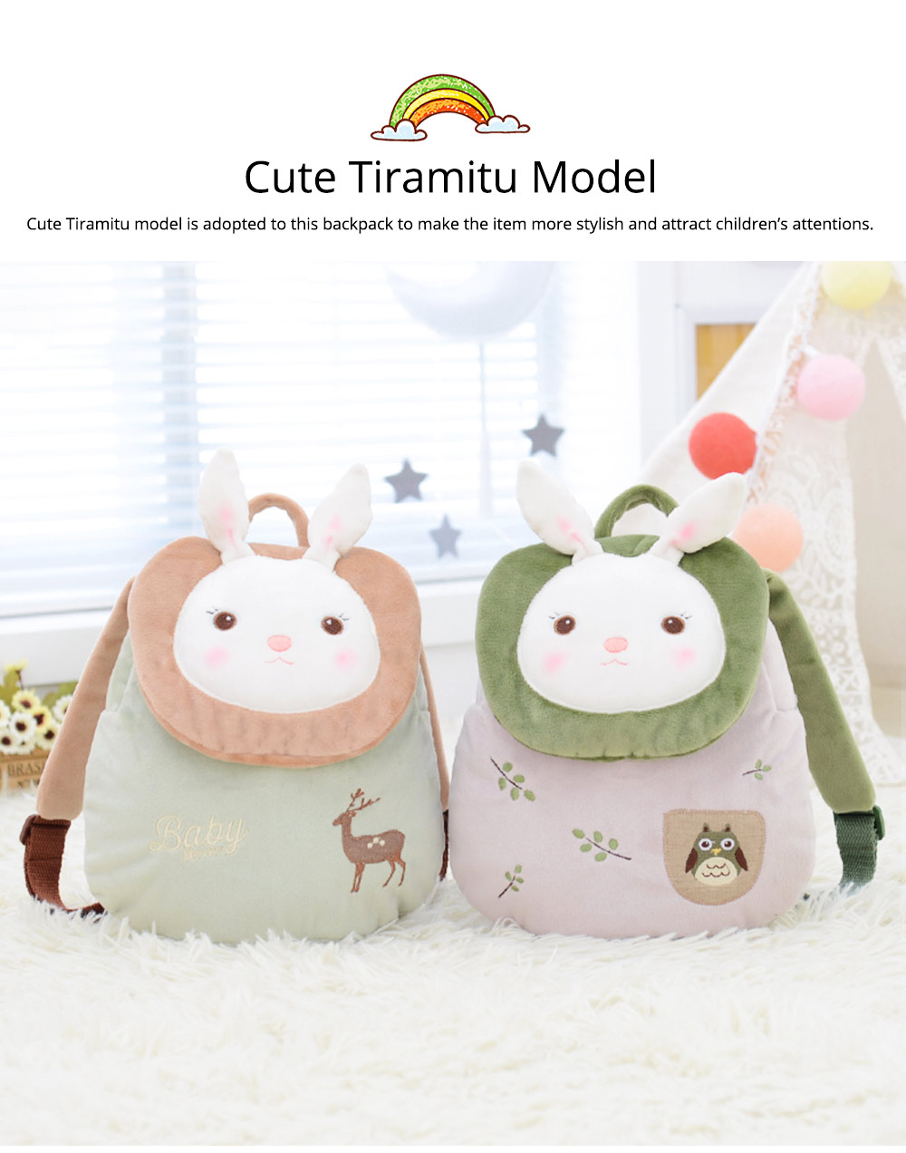Cute Tiramitu Little Backpack for 1-3 Years Old Children, Large Capacity Smooth Short Plush Rabbit Rucksack Birthday Present for Boys Girls 6