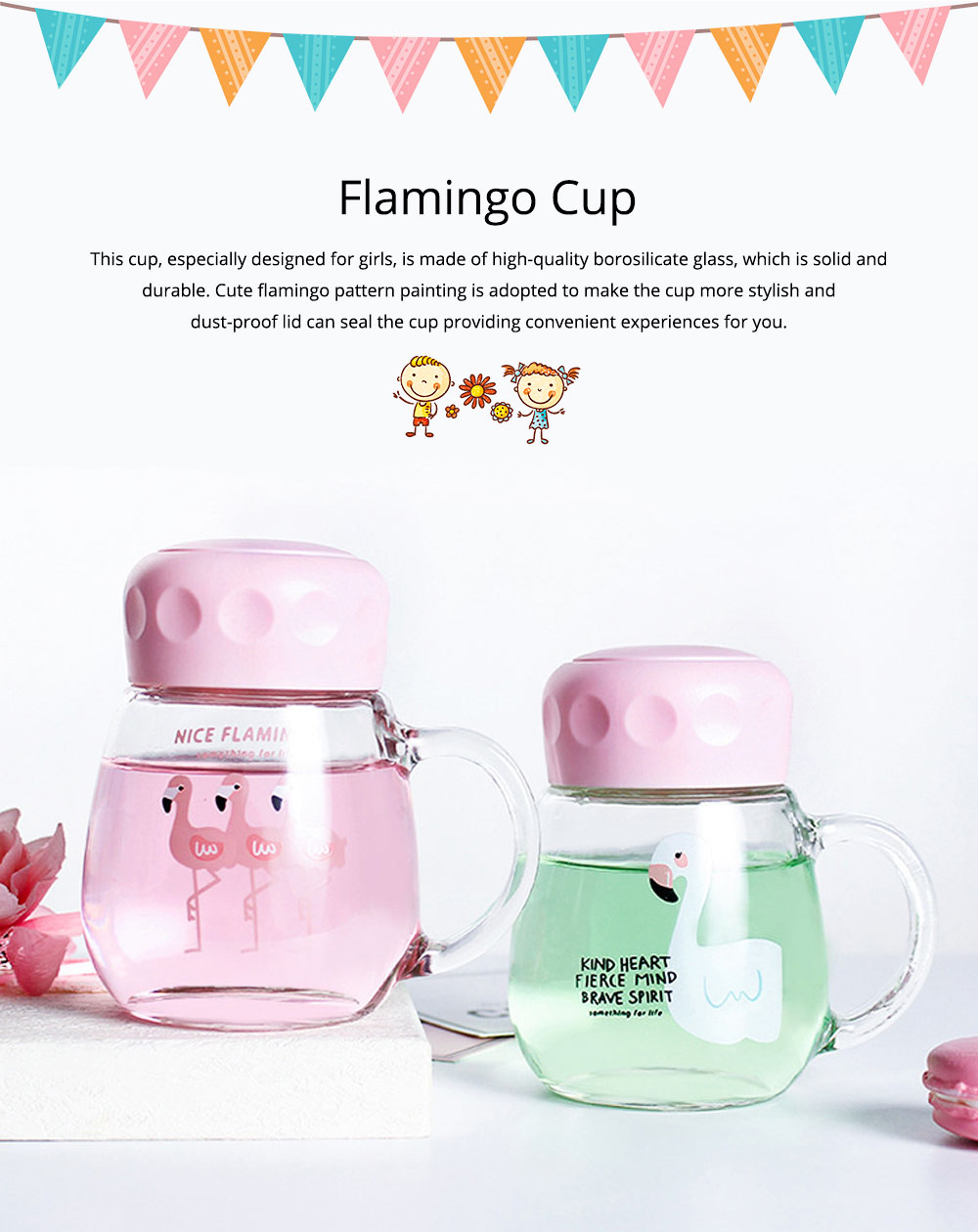 Cute Pink Flamingo Borosilicate Glass Cup, Delicate Fancy Birthday Present Prizes Mug for Girls Children 0