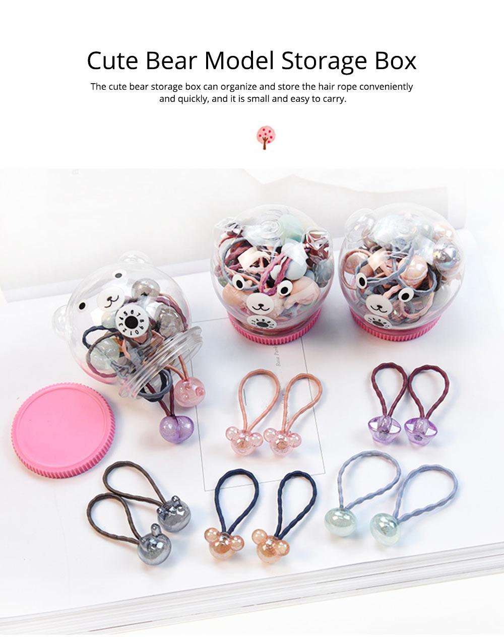 Fancy Beautiful Elastic Hair Band, Cartoon Animal Star Round Model Hair Rope Set with Bear Storage Box 3
