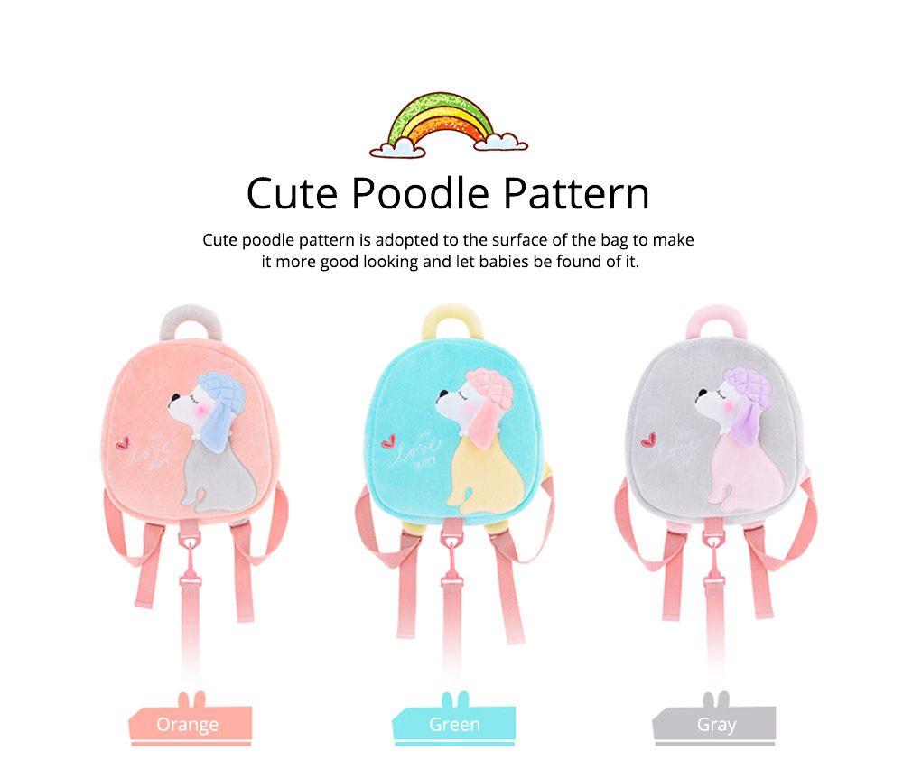 Cute Poodle Dog Pattern Babies Backpack with Traction Rope, Kindergarten Children Double Shoulders Bag with Safety Slip-proof Buckle 2