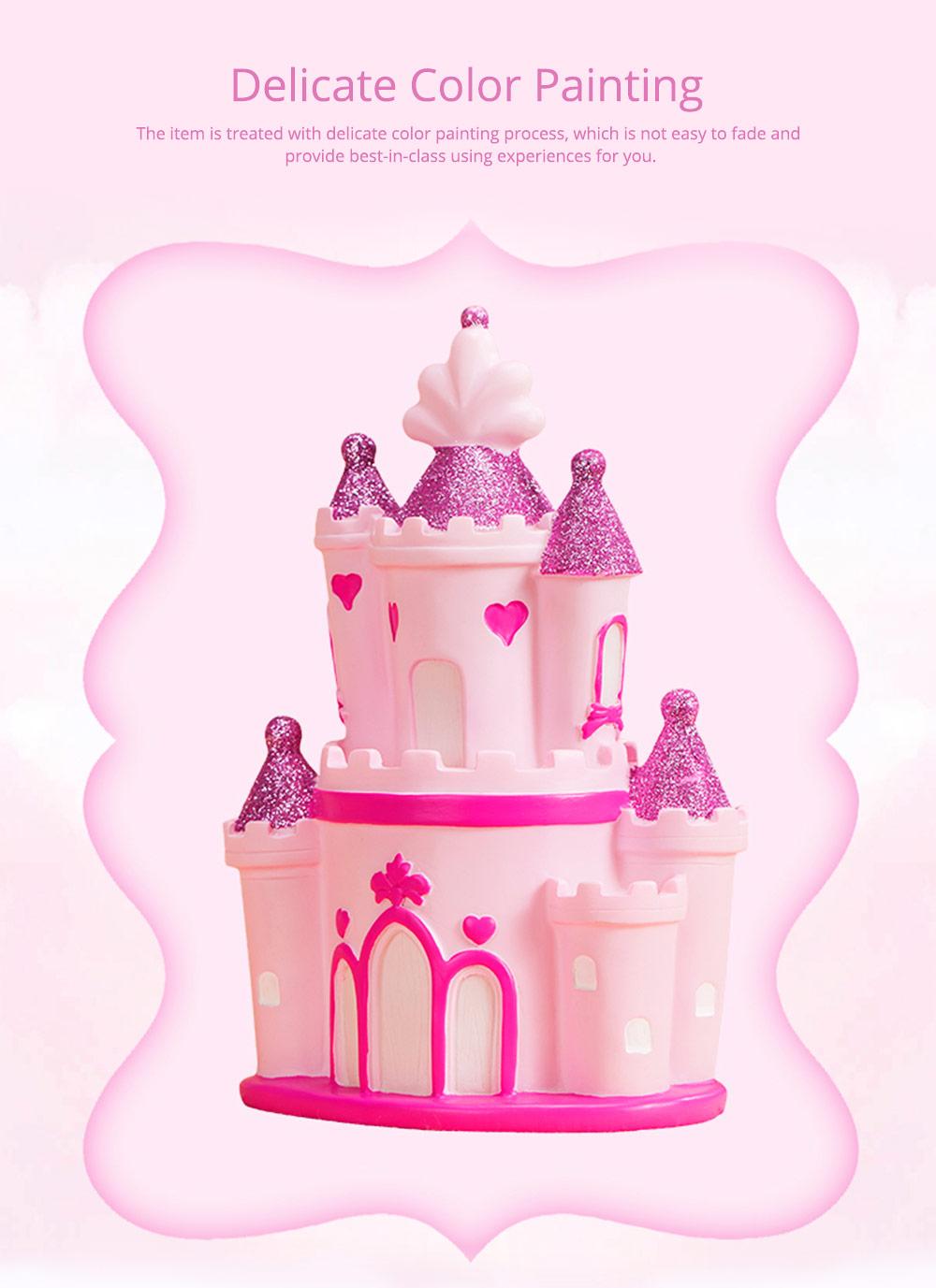 Creative Princess Castle Money Box for Girls, Delicate Elegant Pink Fairytale Castle Birthday Present Piggy Bank 0