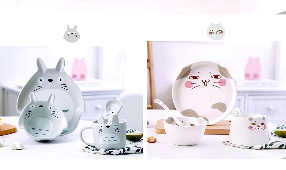 Cute Creative Carton Animal Model Ceramics 4PCS Tableware Suit, Functional Fancy Bowl Cup Spoon Dish Set for Children 5