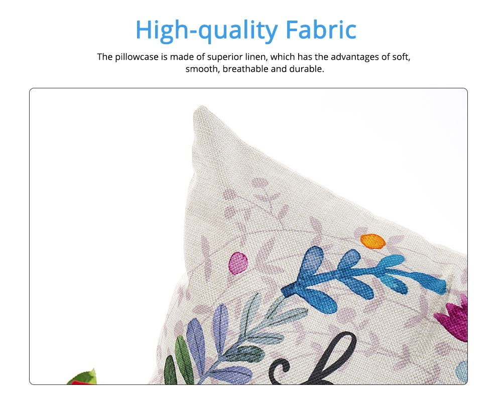 Cute Rabbit Pattern Linen Pillowcase without Pillow Core, Colorful Digital Painting Carton Soft Breathable Fabric Bolster Pillow Slip 1