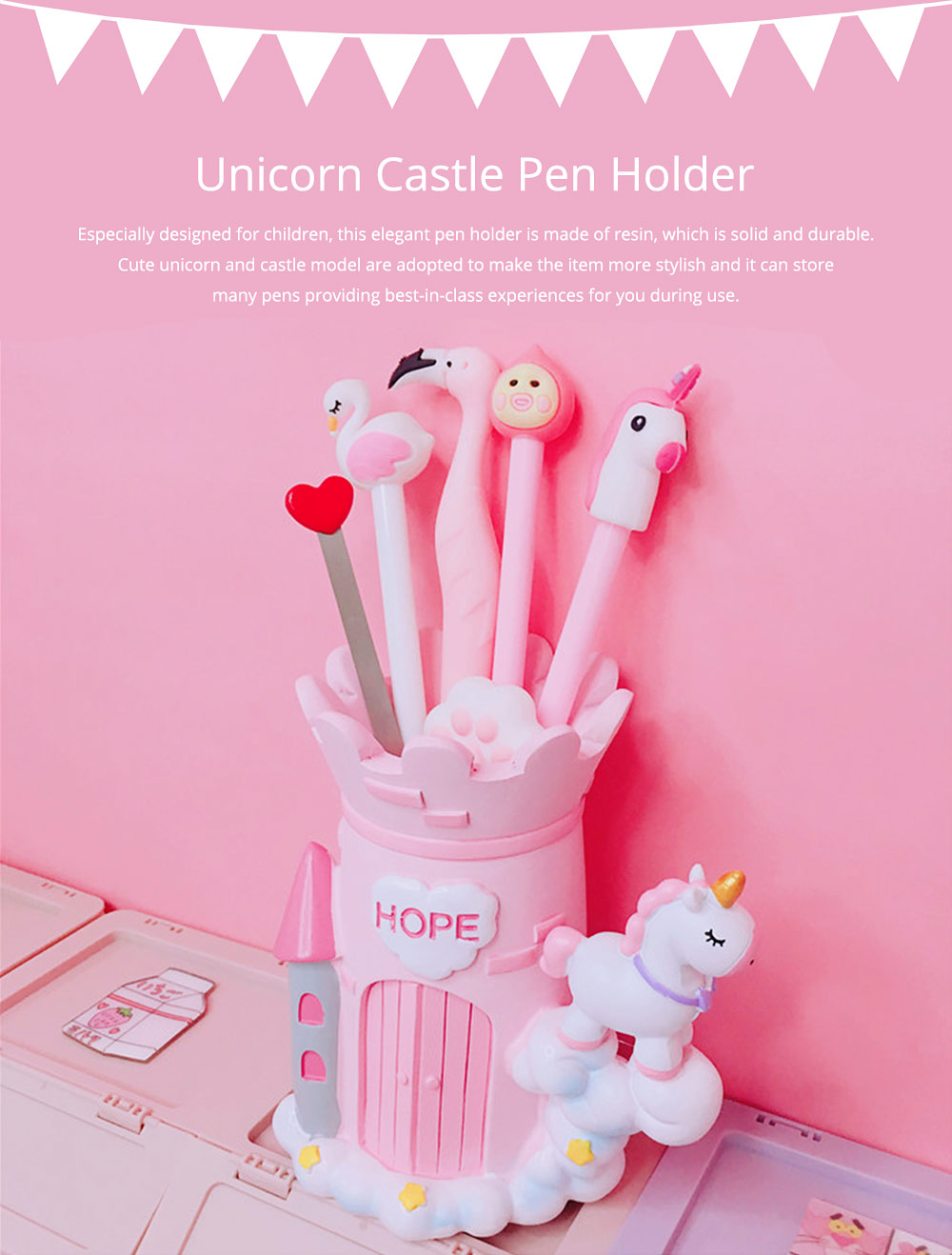 Unicorn Pen Pencil Holder, Dream Castle Pony Pen Holder Back to School Gift for Girls 0