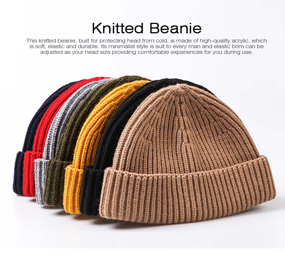 Minimalist Fashion Men Warm Knitted Wool Beanie, Winter Autumn Ultra-soft Elastic Acrylic Hat Cap for Men 0