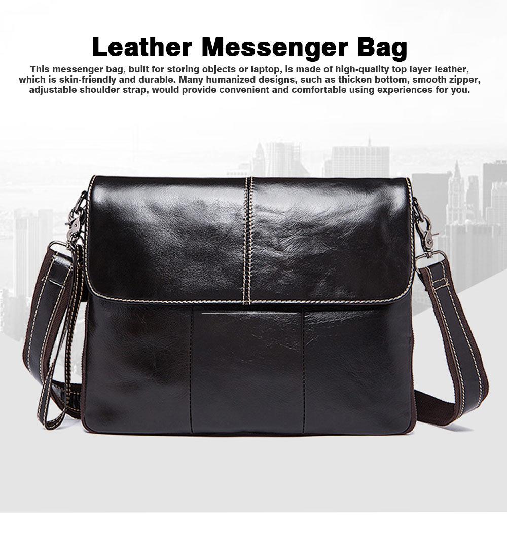 Fashion Business Flip Shoulder Bag Crossbody Bag for Men, Soft Smooth Top Layer Leather Briefcase Messenger Laptop Bag 0