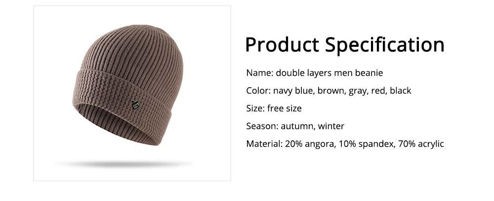 Ultra-soft Warm Thicken Angora Men Beanie, Minimalist Double-layers Winter Autumn Knitted Cap Hat 6