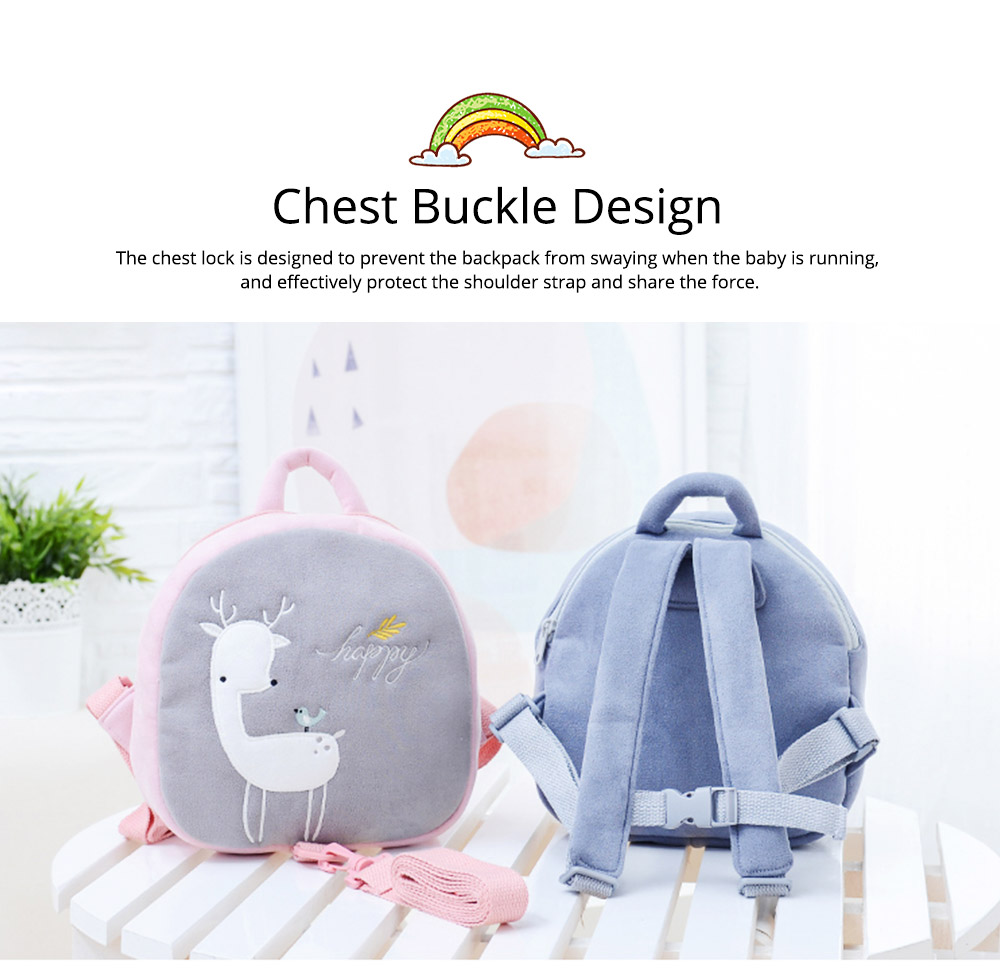 Prevent Loss Children Backpack with Traction Rope, Cute Cartoon Pattern Kindergarten Babies Shoulders Bag with Safety Detachable Buckle 6