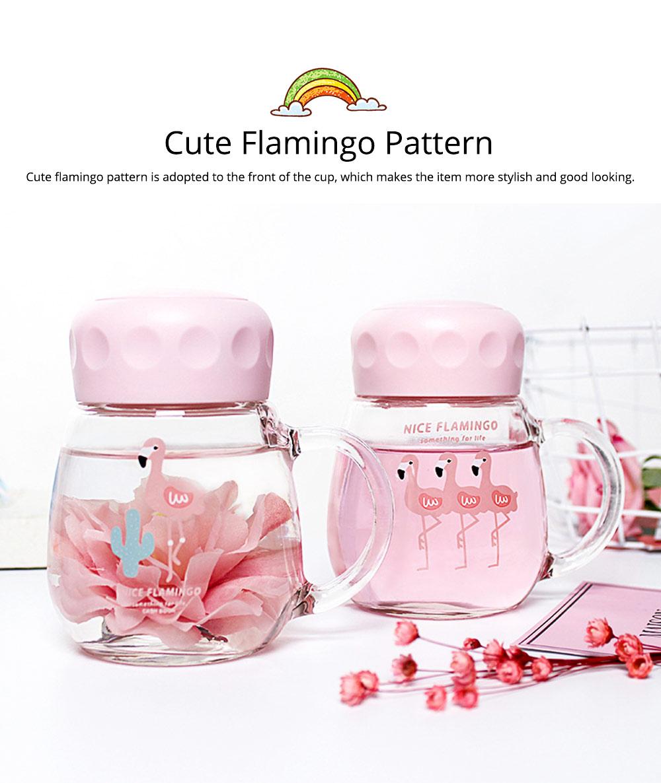 Cute Pink Flamingo Borosilicate Glass Cup, Delicate Fancy Birthday Present Prizes Mug for Girls Children 5