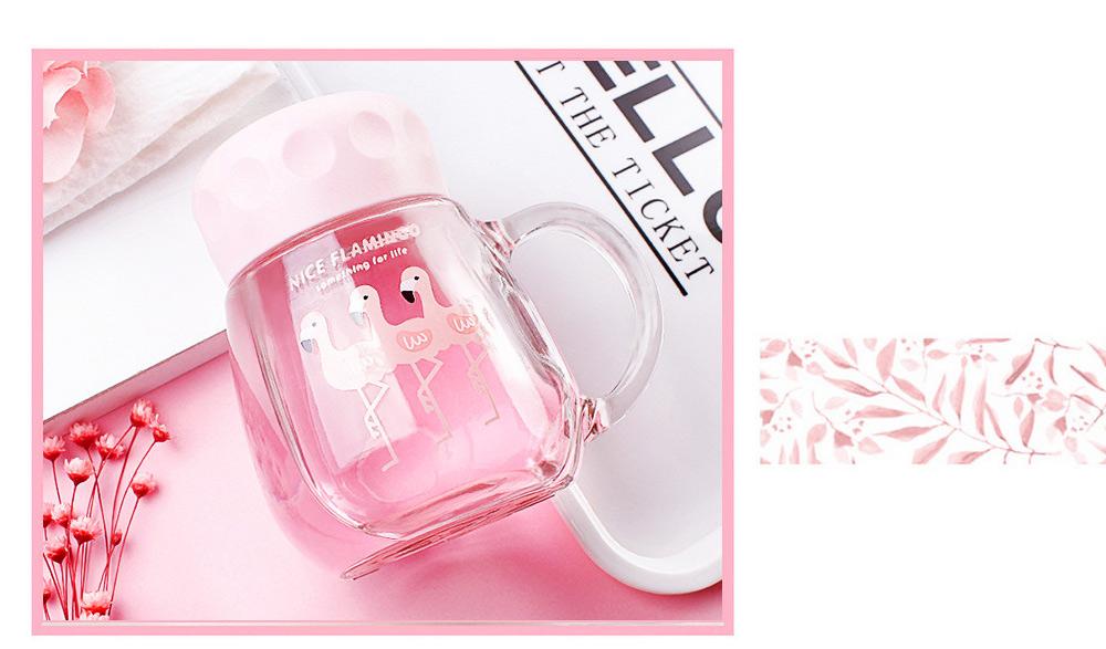 Cute Pink Flamingo Borosilicate Glass Cup, Delicate Fancy Birthday Present Prizes Mug for Girls Children 6