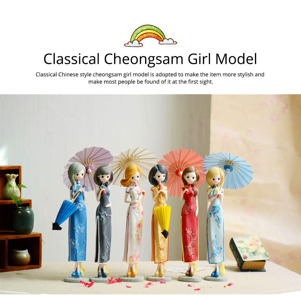 Chinese Style Resin Girl Wearing Cheongsam Ornament, Elegant Classical Counter Show Window Decoration Furnishings for Girls Women 10
