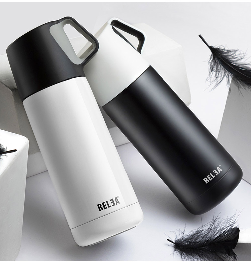 Minimalist Portable Stainless Steel Insulated Thermos Bottle, Vacuum Flask Mug with Functional Lid For Couples Children 14