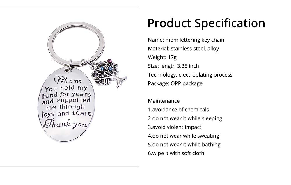 Delicate Elegant Lettering Stainless Steel Key Chain for Mother, Minimalist Rhinestone Decoration Thanks Mothers' Day Gift Accessories 5