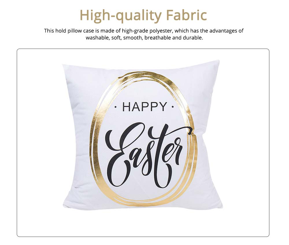 Delicate Easter Pillow Slip with English Letter Rabbit Pattern Hot Stamping, Ultrasoft Polyester Minimalist Fancy Pillowcase for Easter Day 1