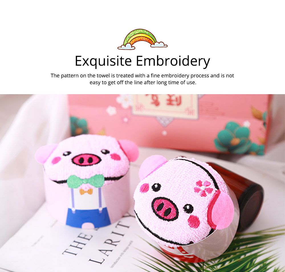 Cute Delicate Pig Pattern Embroidery Little Towel for Children, Creative Lively Piggy Towel Gift Box for Lovers Girls Friends 3