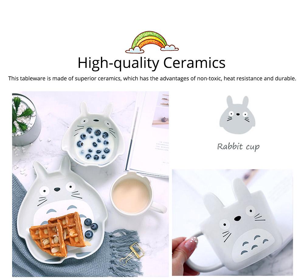 Cute Creative Carton Animal Model Ceramics 4PCS Tableware Suit, Functional Fancy Bowl Cup Spoon Dish Set for Children 1