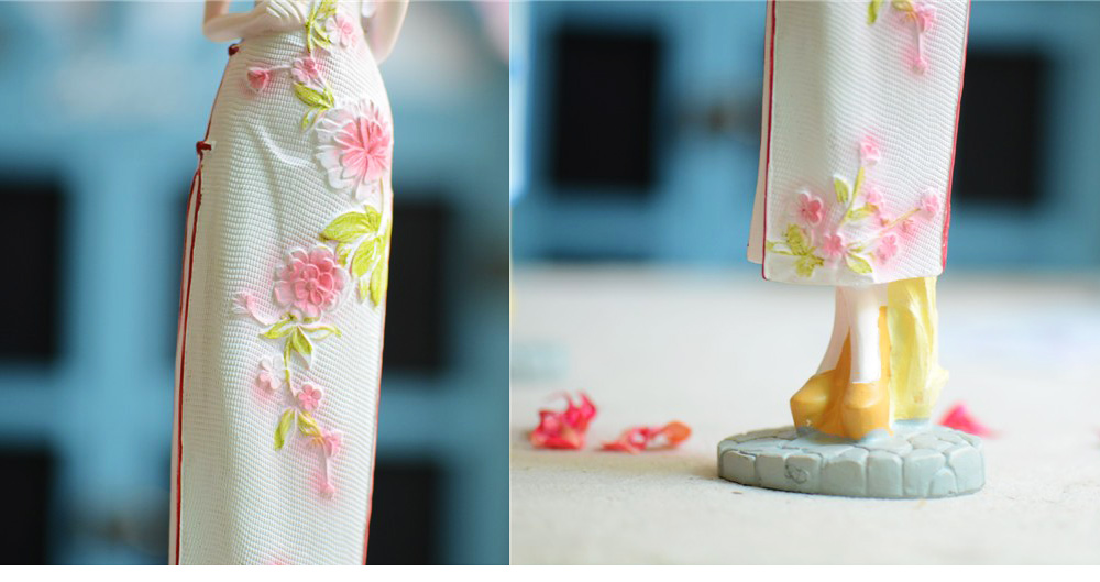 Chinese Style Resin Girl Wearing Cheongsam Ornament, Elegant Classical Counter Show Window Decoration Furnishings for Girls Women 5