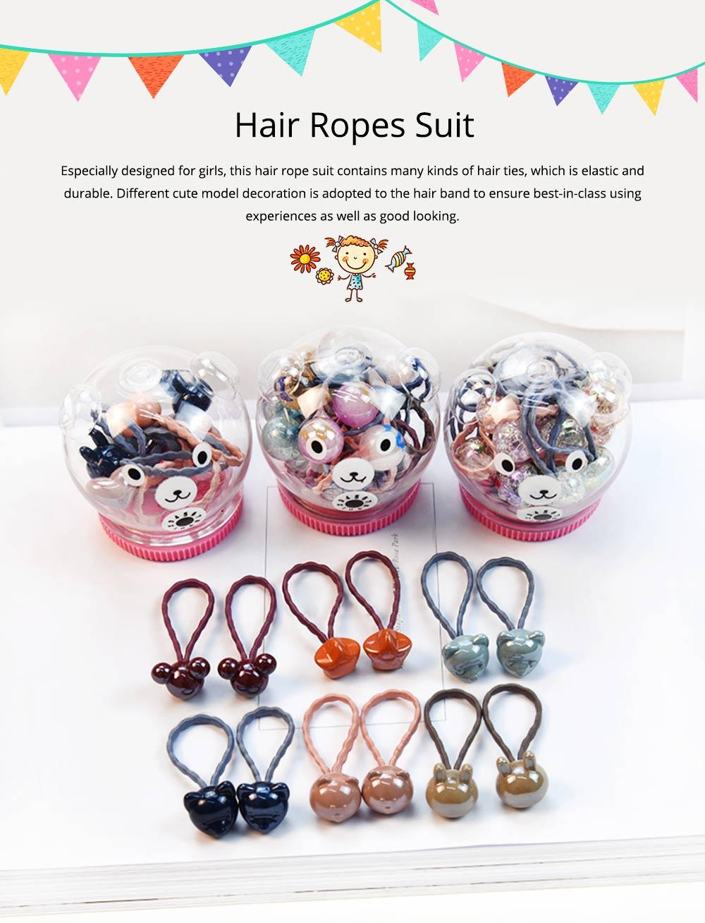Fancy Beautiful Elastic Hair Band, Cartoon Animal Star Round Model Hair Rope Set with Bear Storage Box 0