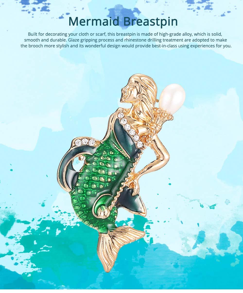 Creative Cute Cartoon Mermaid Breastpin with Rhinestone Decoration, Elegant Glaze Dripping Brooch for Ladies 0