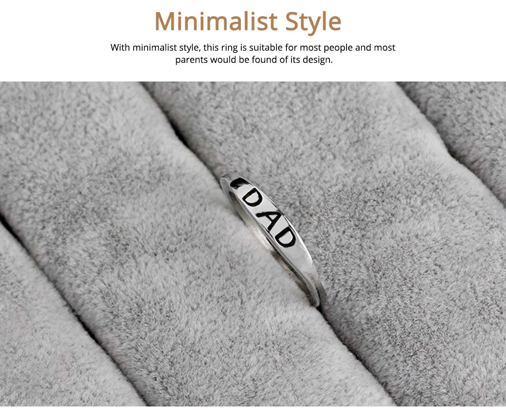 Minimalist Delicate Dad Mom Letters Carving Ring, Simple Creative Fathers' Day Mothers' Day Present Birthday Gift 4