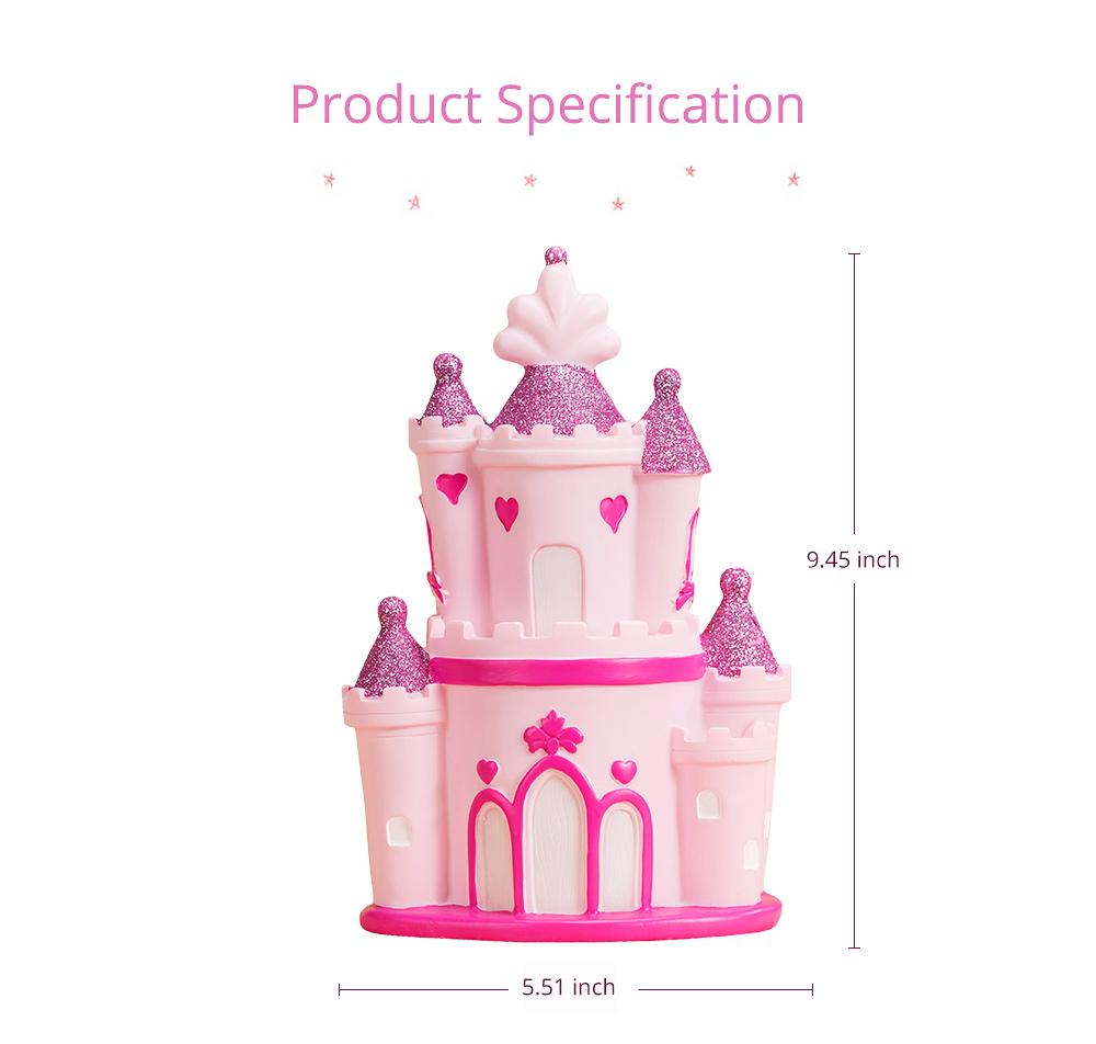Creative Princess Castle Money Box for Girls, Delicate Elegant Pink Fairytale Castle Birthday Present Piggy Bank 4