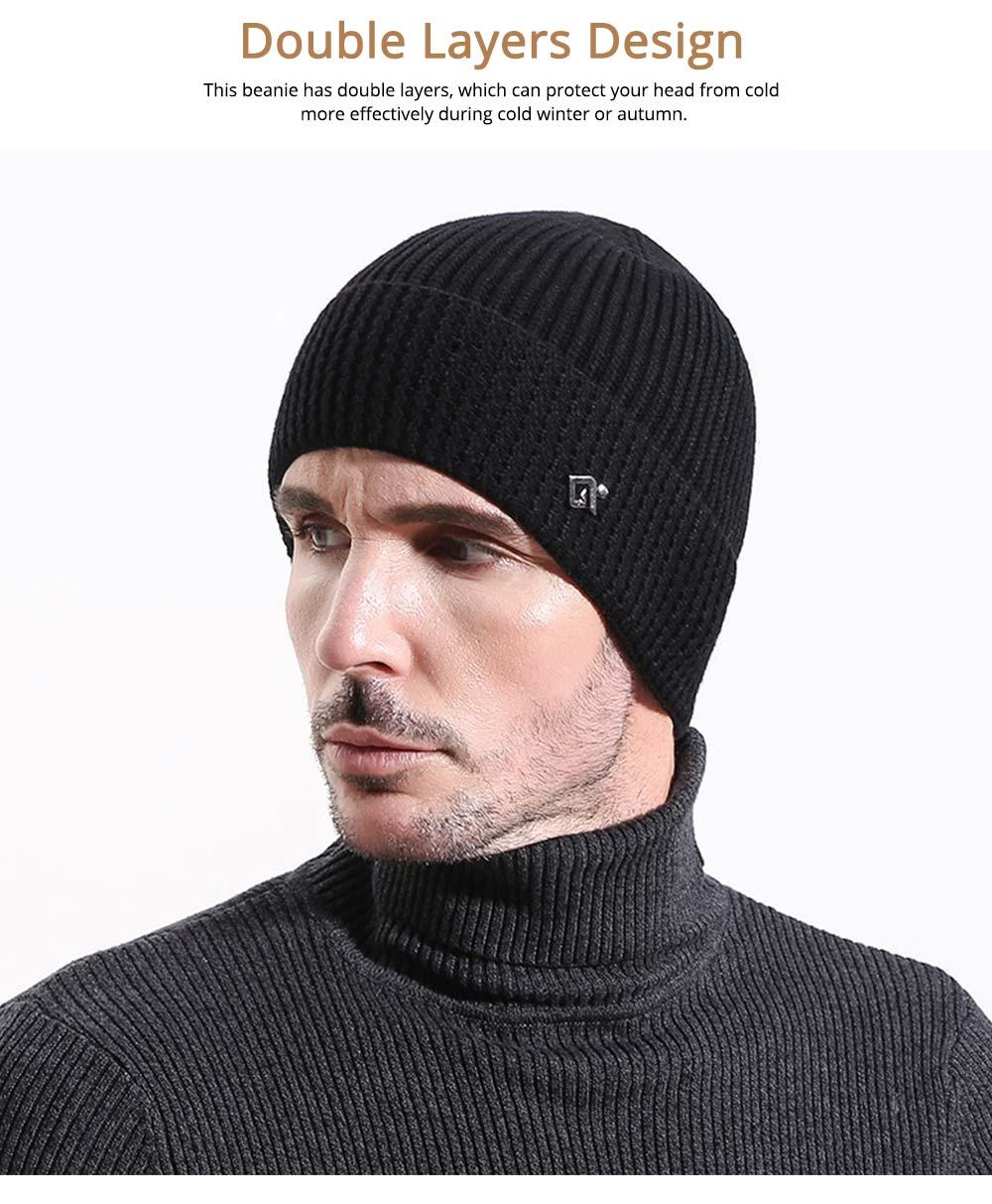 Ultra-soft Warm Thicken Angora Men Beanie, Minimalist Double-layers Winter Autumn Knitted Cap Hat 2