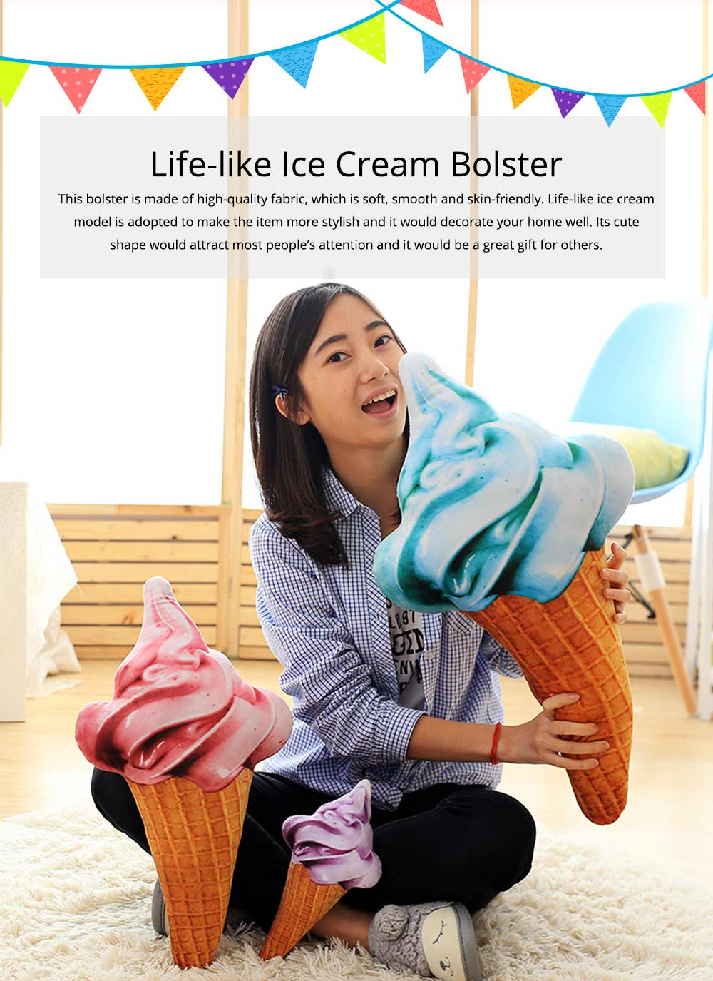 Cute Creative Life-like Ice Cream Model Bolster Toy, Elegant Simulation Pillow Doll Home Decoration Children Present Gift 0