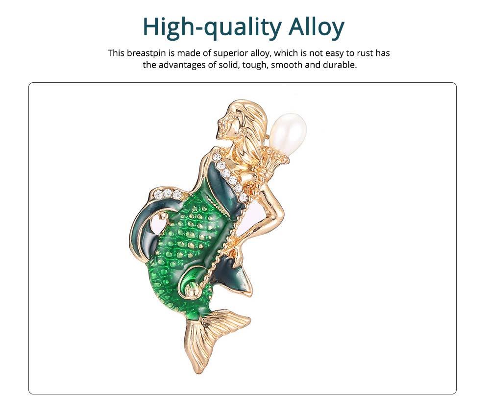 Creative Cute Cartoon Mermaid Breastpin with Rhinestone Decoration, Elegant Glaze Dripping Brooch for Ladies 1