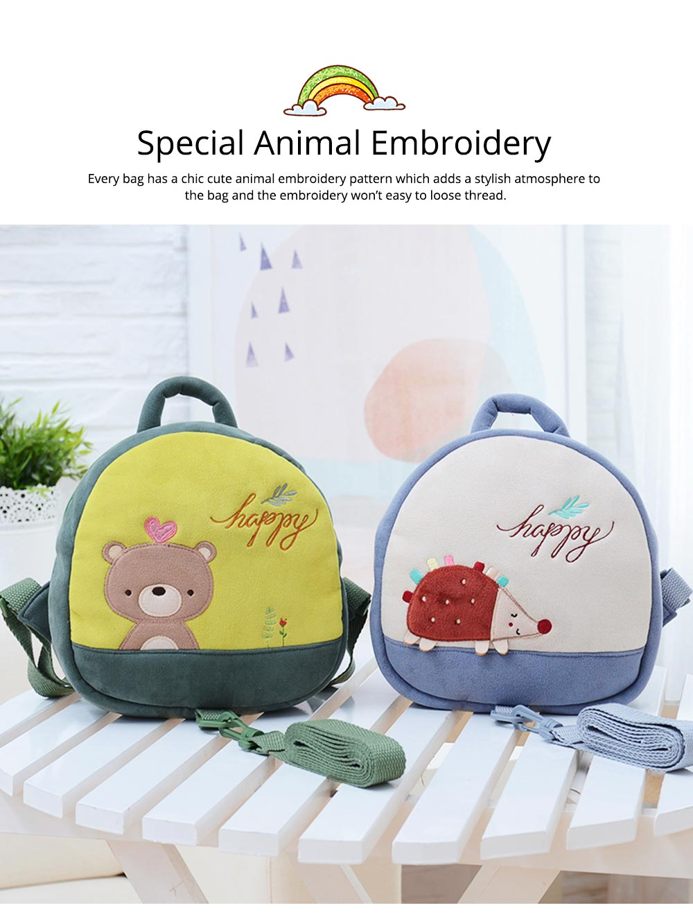 Prevent Loss Children Backpack with Traction Rope, Cute Cartoon Pattern Kindergarten Babies Shoulders Bag with Safety Detachable Buckle 2