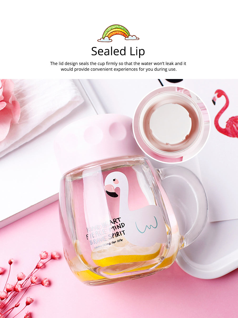 Cute Pink Flamingo Borosilicate Glass Cup, Delicate Fancy Birthday Present Prizes Mug for Girls Children 2