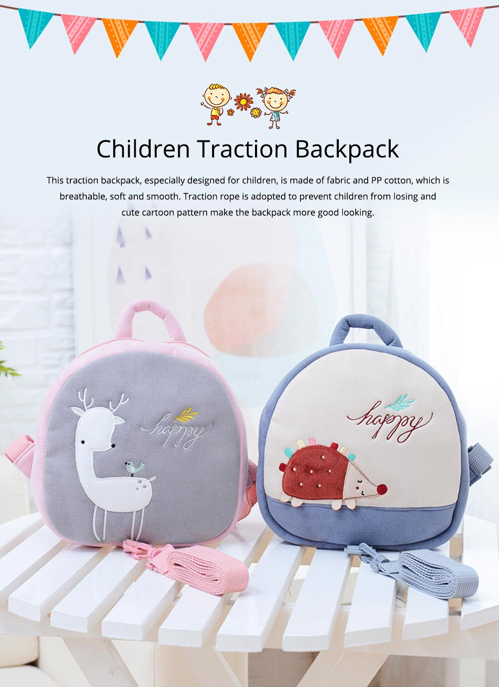 Prevent Loss Children Backpack with Traction Rope, Cute Cartoon Pattern Kindergarten Babies Shoulders Bag with Safety Detachable Buckle 0