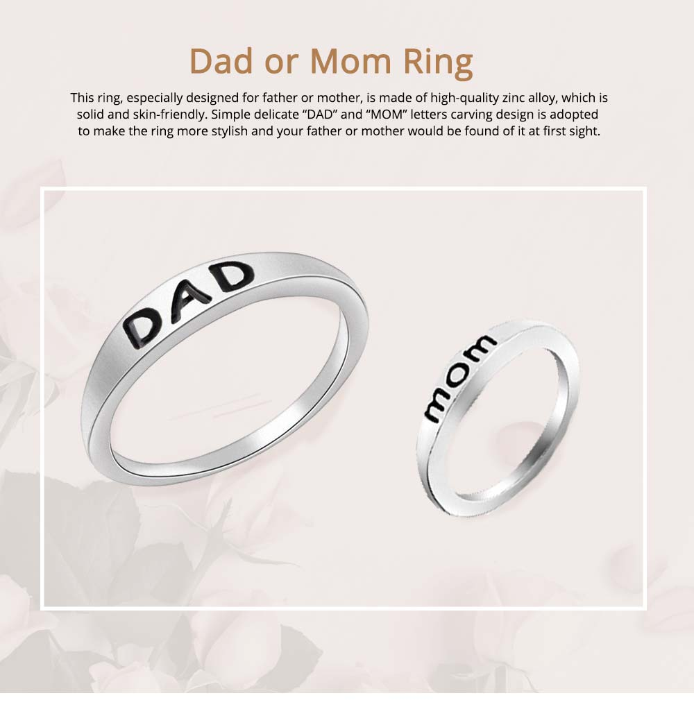 Minimalist Delicate Dad Mom Letters Carving Ring, Simple Creative Fathers' Day Mothers' Day Present Birthday Gift 0