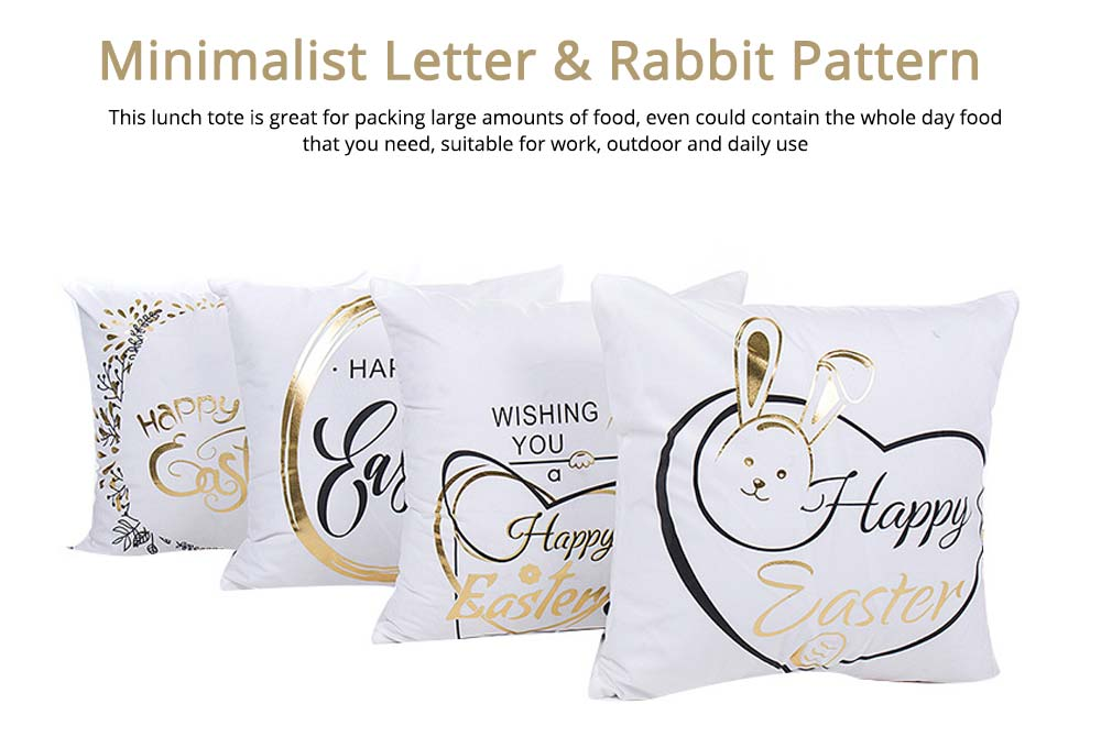 Delicate Easter Pillow Slip with English Letter Rabbit Pattern Hot Stamping, Ultrasoft Polyester Minimalist Fancy Pillowcase for Easter Day 4