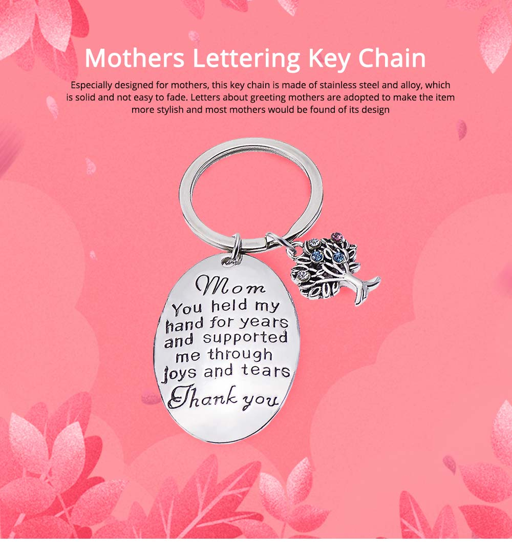 Delicate Elegant Lettering Stainless Steel Key Chain for Mother, Minimalist Rhinestone Decoration Thanks Mothers' Day Gift Accessories 0