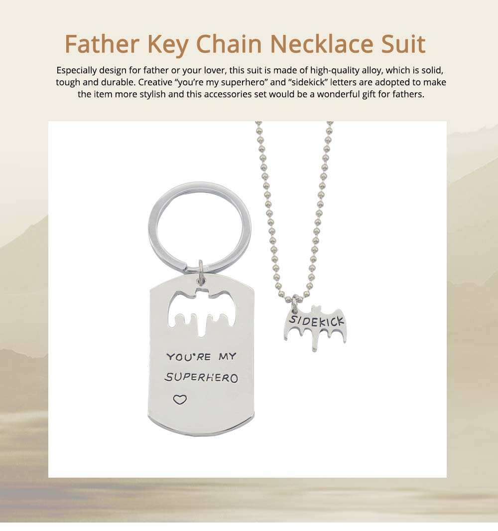 Creative Key Chain Necklace Suit with You're My Superhero Letters, Stylish Fathers' Day Present Solid Alloy Pendant Accessories Set 0