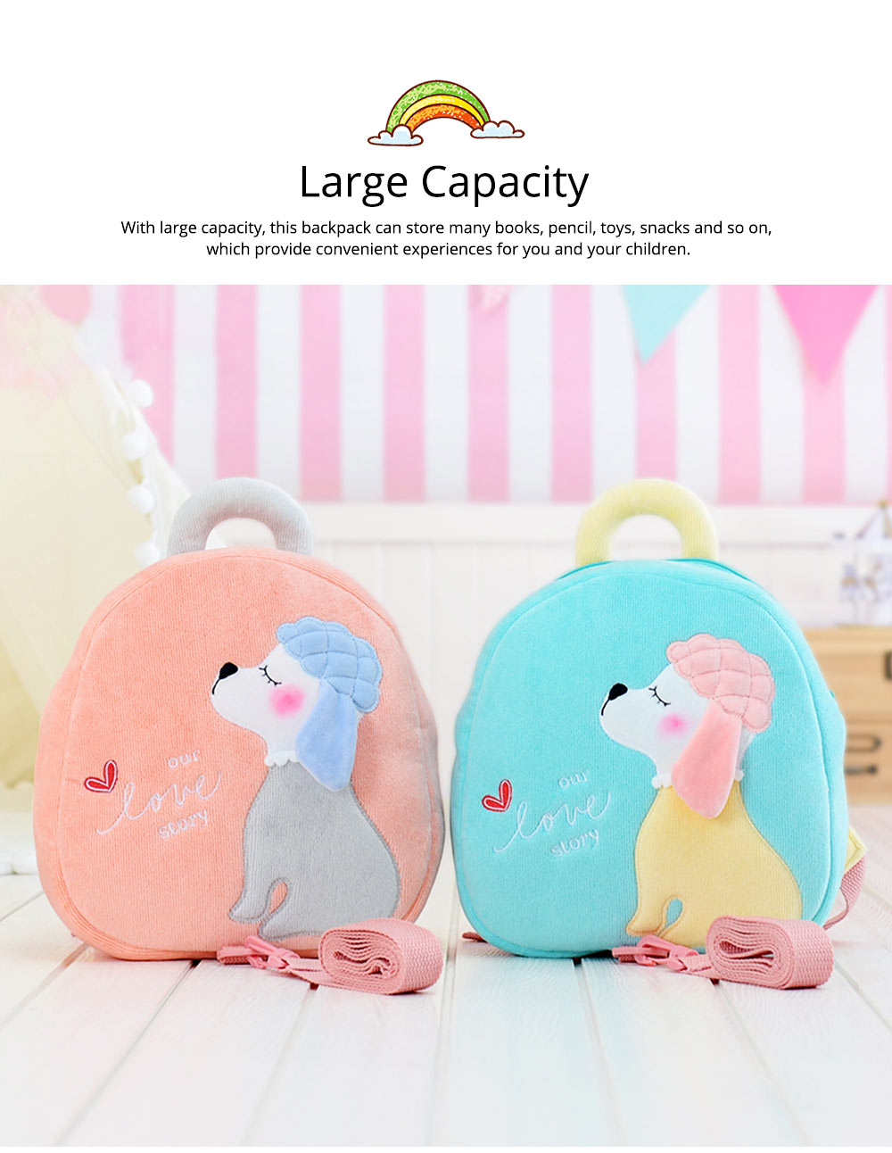 Cute Poodle Dog Pattern Babies Backpack with Traction Rope, Kindergarten Children Double Shoulders Bag with Safety Slip-proof Buckle 6