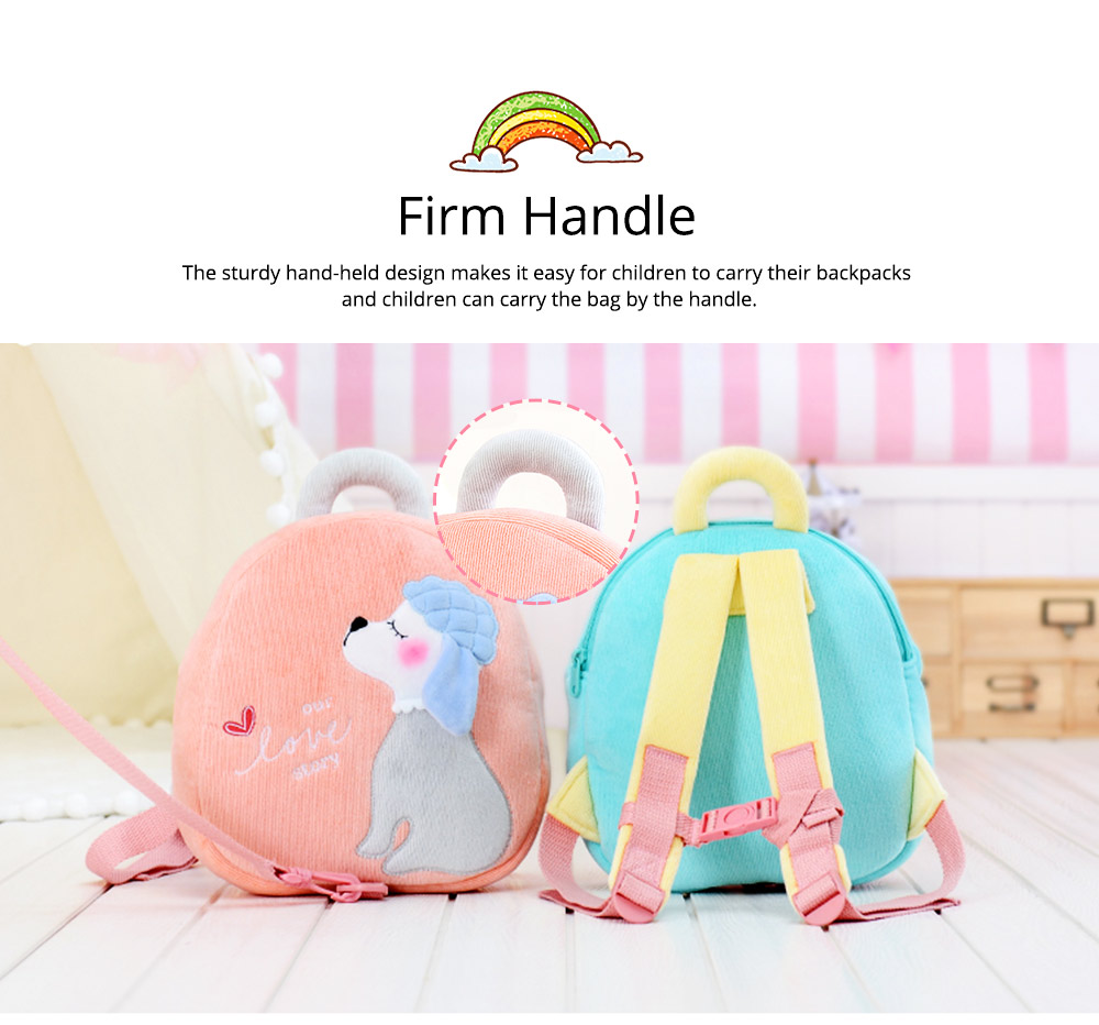 Cute Poodle Dog Pattern Babies Backpack with Traction Rope, Kindergarten Children Double Shoulders Bag with Safety Slip-proof Buckle 5