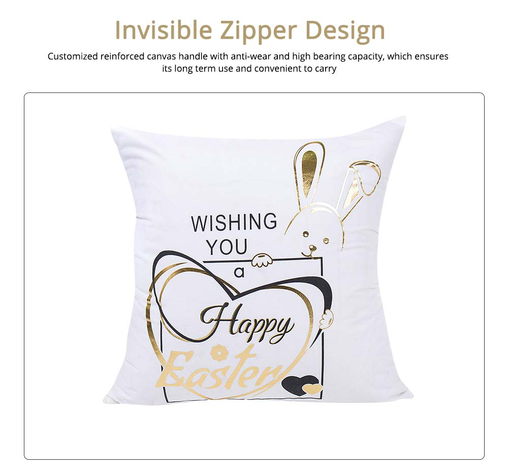 Delicate Easter Pillow Slip with English Letter Rabbit Pattern Hot Stamping, Ultrasoft Polyester Minimalist Fancy Pillowcase for Easter Day 3