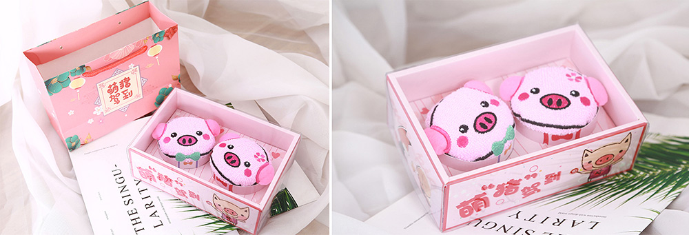 Cute Delicate Pig Pattern Embroidery Little Towel for Children, Creative Lively Piggy Towel Gift Box for Lovers Girls Friends 7