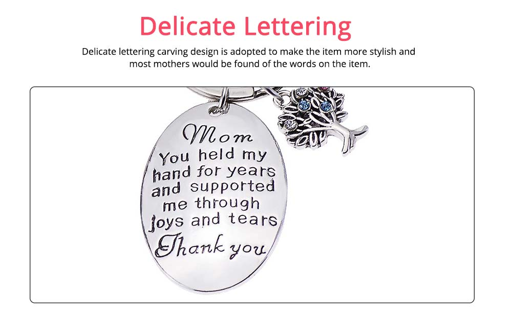 Delicate Elegant Lettering Stainless Steel Key Chain for Mother, Minimalist Rhinestone Decoration Thanks Mothers' Day Gift Accessories 3