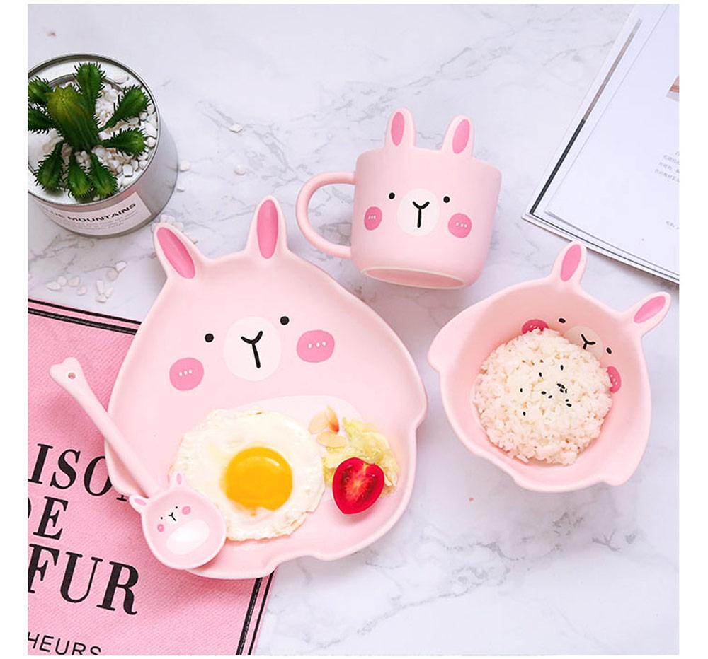 Cute Creative Carton Animal Model Ceramics 4PCS Tableware Suit, Functional Fancy Bowl Cup Spoon Dish Set for Children 8