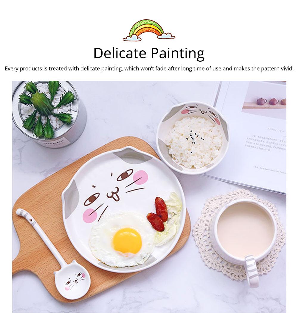 Cute Creative Carton Animal Model Ceramics 4PCS Tableware Suit, Functional Fancy Bowl Cup Spoon Dish Set for Children 6