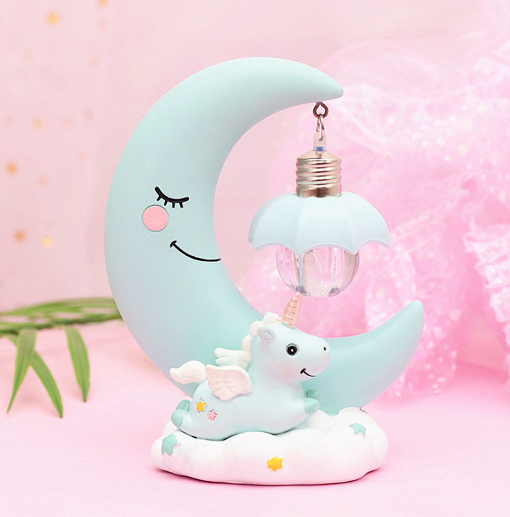 Fancy Unicorn Moon Electronic Night Light, Cute Resin Home Decoration Ornament Tabletop Furnishing 4