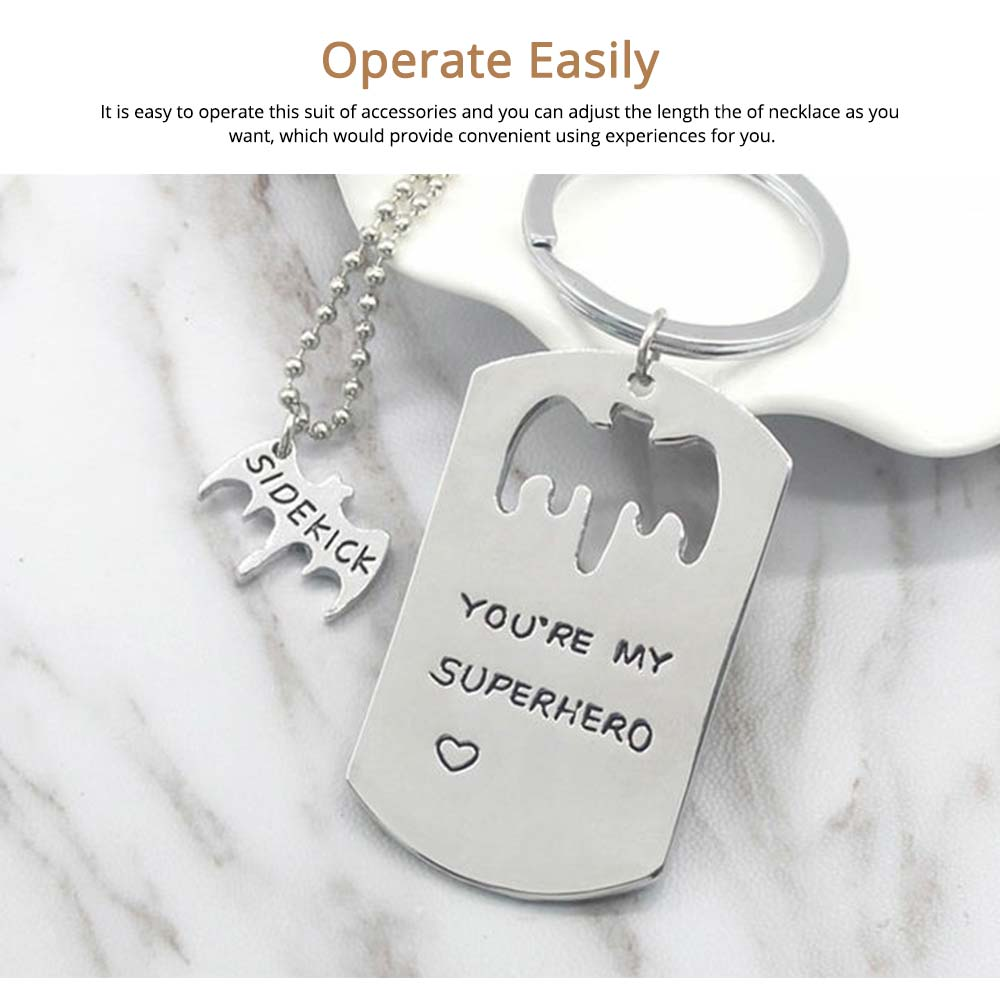 Creative Key Chain Necklace Suit with You're My Superhero Letters, Stylish Fathers' Day Present Solid Alloy Pendant Accessories Set 4