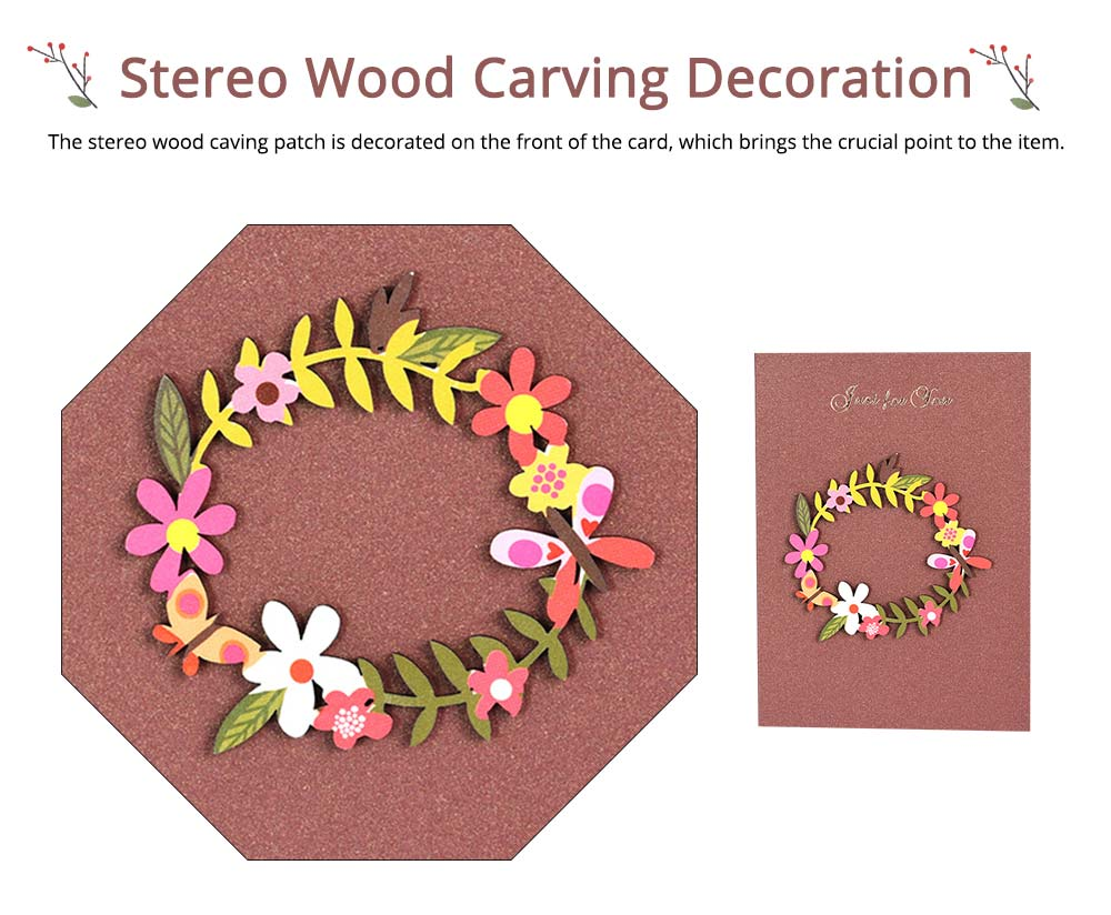 Elegant Vintage Mini Greeting Cards with Wood Carving Patch Decoration, Loving Flower Pattern Birthday Wedding Party Folding Message Card 2
