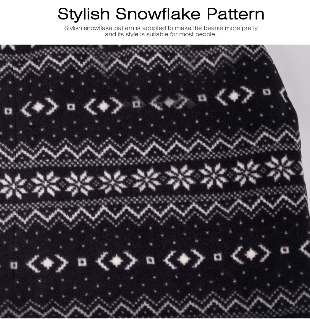 Stylish Snowflake Pattern Outdoors Beanie with Face Mark, Warm Soft Polyester Waterproof Knitted Hat for Men Women 7
