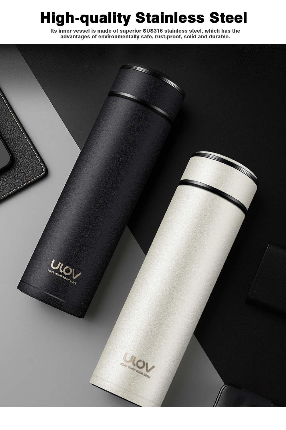 Portable 500ML Stainless Steel Thermos Mug, Minimalist Large Capacity Black White Sanded Smooth Vacuum Flask Tumbler 1